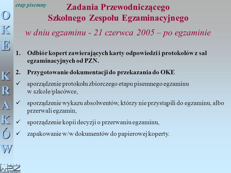 OKE KRAKÓW Zadania Przewodniczącego Szkolnego Zespołu Egzaminacyjnego w dniu egzaminu - 21 czerwca 2005 – po egzaminie 1.Odbiór kopert zawierających k