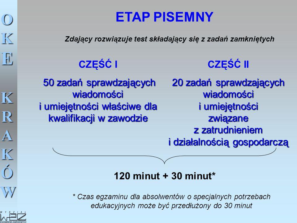 OKE KRAKÓW ETAP PISEMNY CZĘŚĆ I 50 zadań sprawdzających wiadomości i umiejętności właściwe dla kwalifikacji w zawodzie CZĘŚĆ II 20 zadań sprawdzającyc