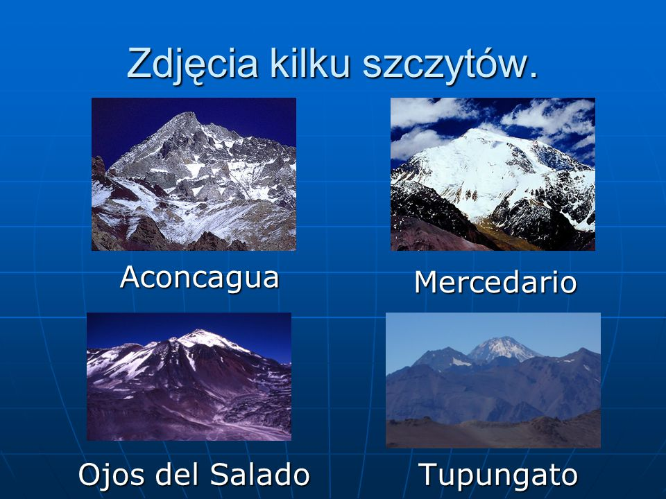 Zdjęcia kilku szczytów. Aconcagua Mercedario Ojos del Salado Tupungato