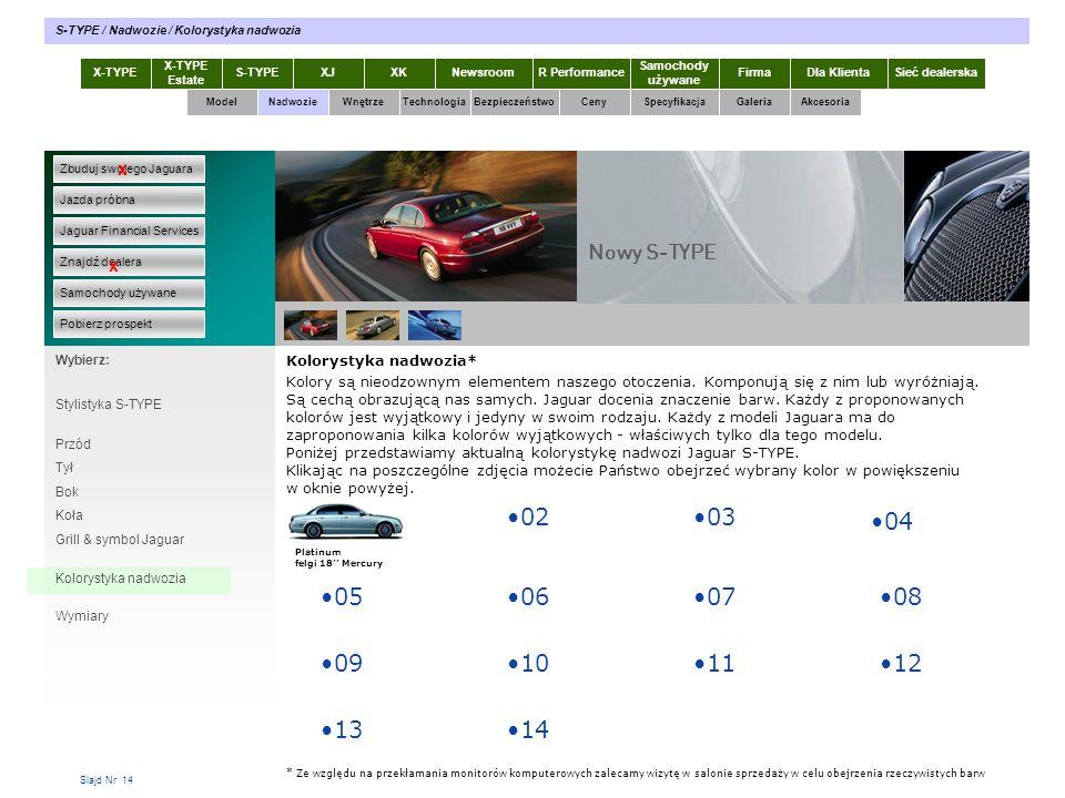 Slajd Nr 14 X-TYPE Estate S-TYPEXJXKR Performance Samochody używane Dla KlientaSieć dealerskaNewsroomFirma ModelTechnologiaBezpieczeństwoCenySpecyfika