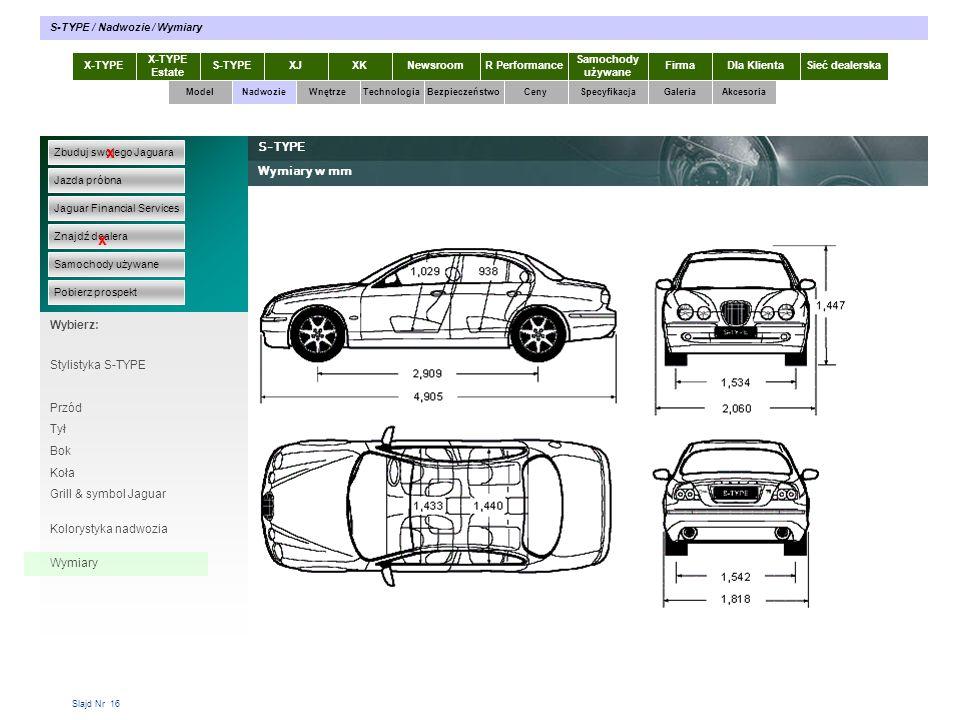 Slajd Nr 16 X-TYPE Estate S-TYPEXJXKR Performance Samochody używane Dla KlientaSieć dealerskaNewsroomFirma ModelTechnologiaBezpieczeństwoCenySpecyfika