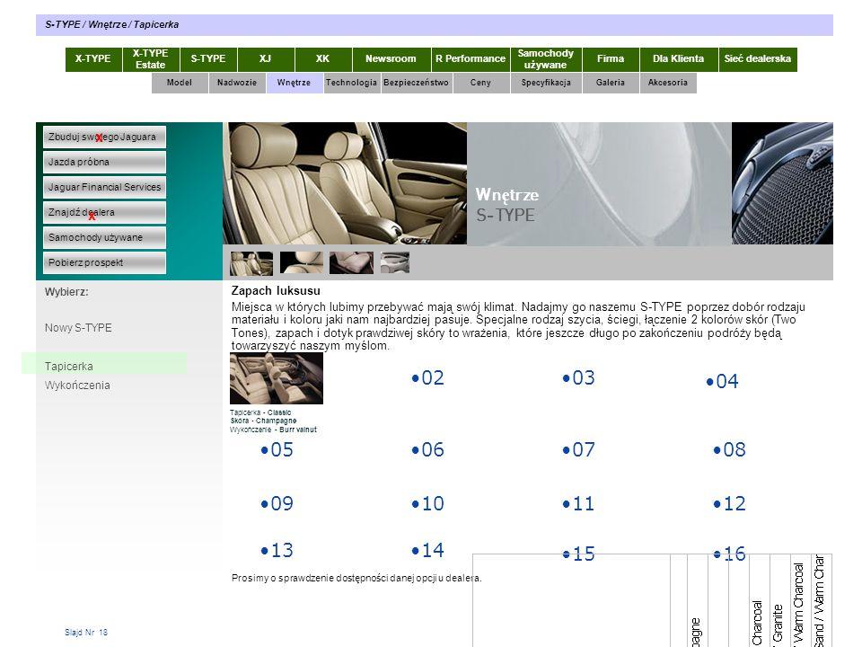 Slajd Nr 18 X-TYPE Estate S-TYPEXJXKR Performance Samochody używane Dla KlientaSieć dealerskaNewsroomFirma ModelTechnologiaBezpieczeństwoCenySpecyfika