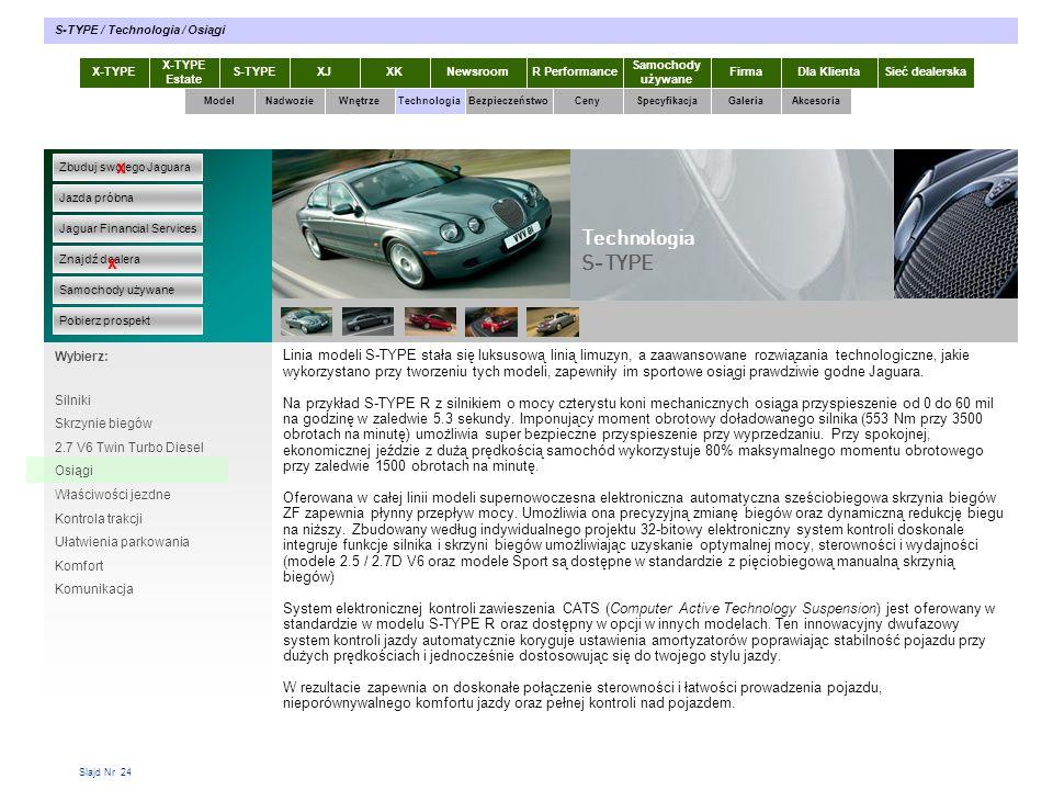 Slajd Nr 24 X-TYPE Estate S-TYPEXJXKR Performance Samochody używane Dla KlientaSieć dealerskaNewsroomFirma ModelTechnologiaBezpieczeństwoCenySpecyfika