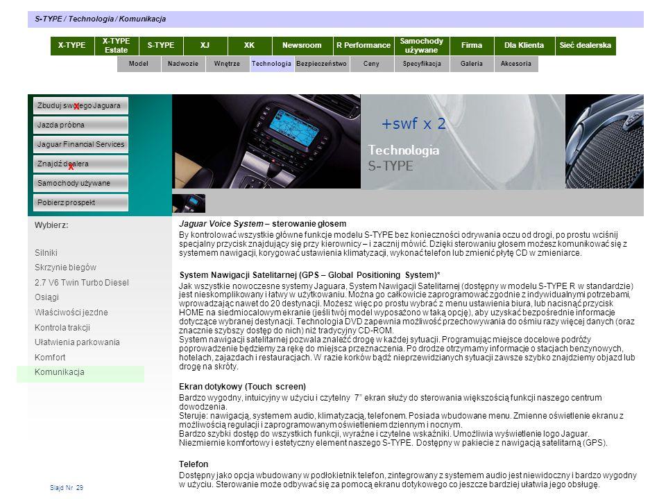 Slajd Nr 29 Jaguar Voice System – sterowanie głosem By kontrolować wszystkie główne funkcje modelu S-TYPE bez konieczności odrywania oczu od drogi, po