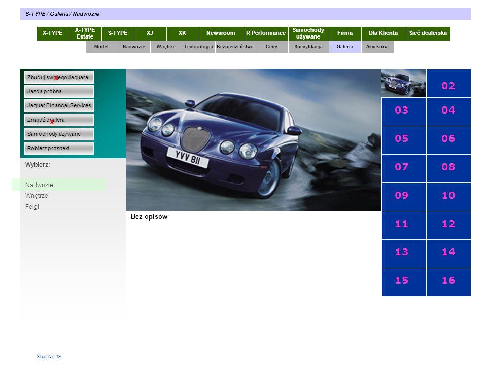 Slajd Nr 39 X-TYPE Estate S-TYPEXJXKR Performance Samochody używane Dla KlientaSieć dealerskaNewsroomFirma ModelTechnologiaBezpieczeństwoCenySpecyfika