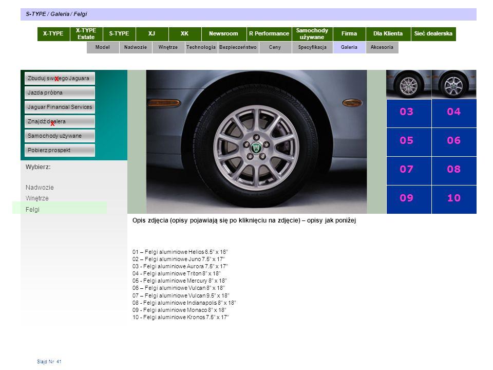 Slajd Nr 41 X-TYPE Estate S-TYPEXJXKR Performance Samochody używane Dla KlientaSieć dealerskaNewsroomFirma ModelTechnologiaBezpieczeństwoCenySpecyfika