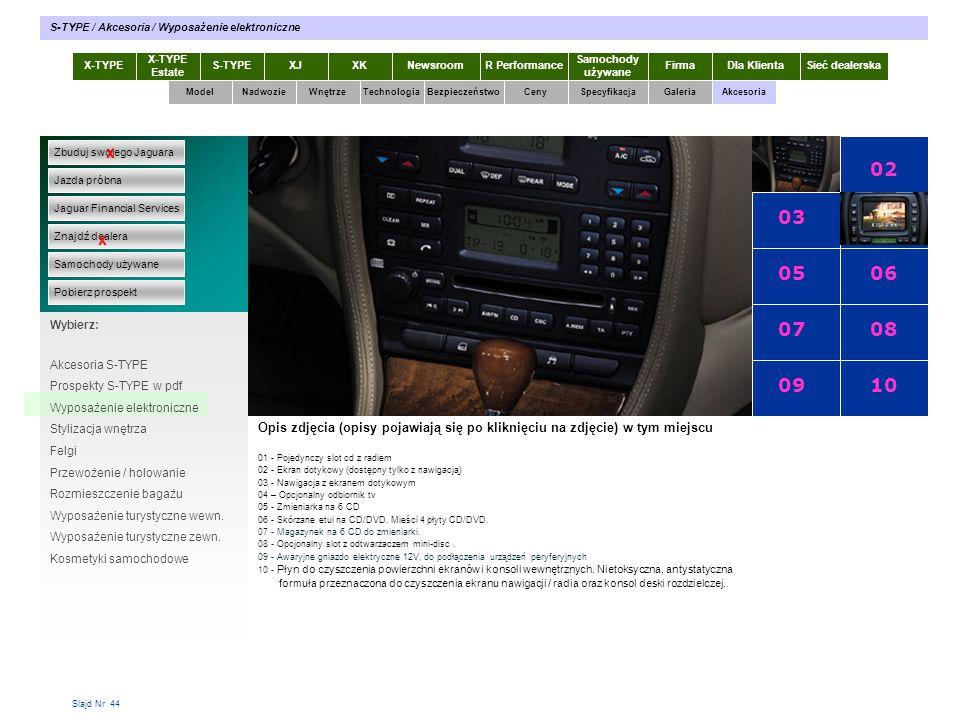 Slajd Nr 44 X-TYPE Estate S-TYPEXJXKR Performance Samochody używane Dla KlientaSieć dealerskaNewsroomFirma ModelTechnologiaBezpieczeństwoCenySpecyfika