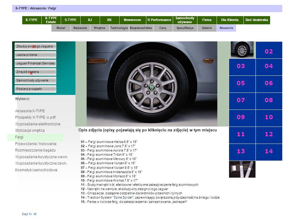 Slajd Nr 46 X-TYPE Estate S-TYPEXJXKR Performance Samochody używane Dla KlientaSieć dealerskaNewsroomFirma ModelTechnologiaBezpieczeństwoCenySpecyfika