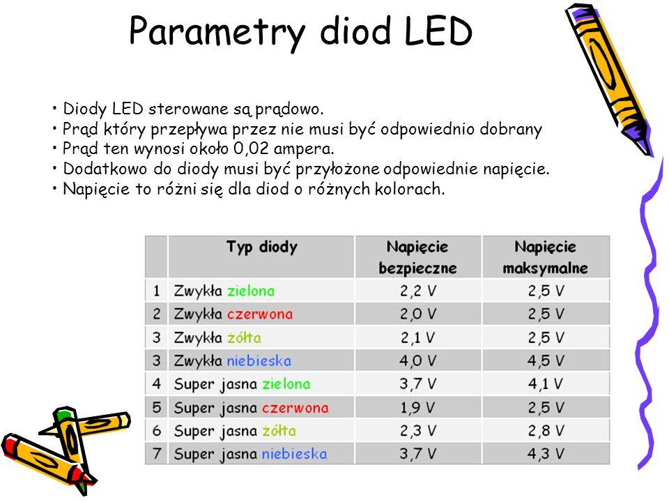 Parametry diod LED Diody LED sterowane są prądowo. Prąd który przepływa przez nie musi być odpowiednio dobrany Prąd ten wynosi około 0,02 ampera. Doda