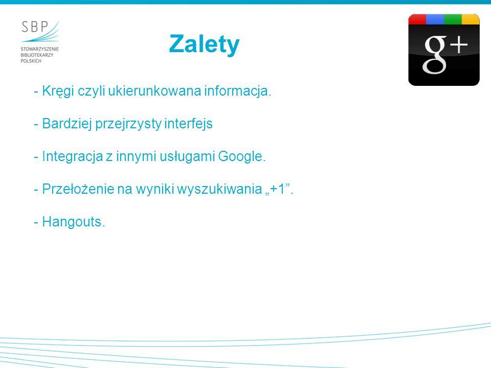 """- Kręgi czyli ukierunkowana informacja. - Bardziej przejrzysty interfejs - Integracja z innymi usługami Google. - Przełożenie na wyniki wyszukiwania """""""