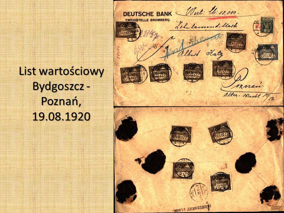 List wartościowy Bydgoszcz - Poznań, 19.08.1920