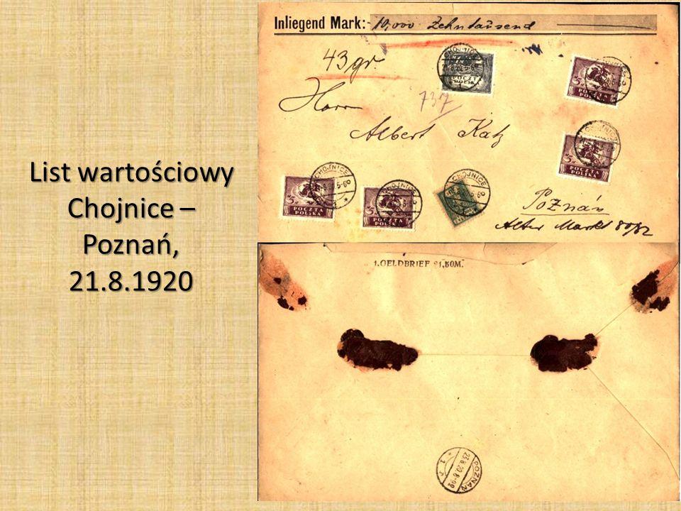 List wartościowy Chojnice – Poznań, 21.8.1920