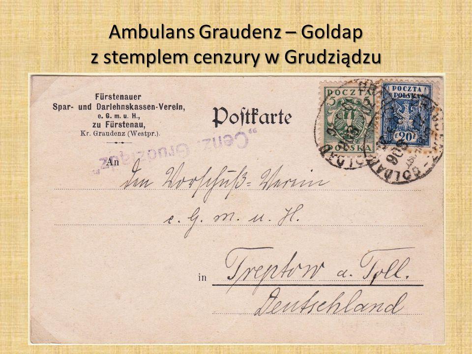 Ambulans Graudenz – Goldap z stemplem cenzury w Grudziądzu