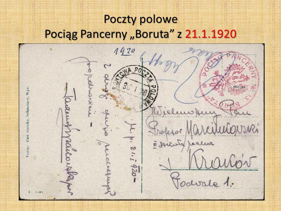 """Poczty polowe Pociąg Pancerny """"Boruta"""" z 21.1.1920"""