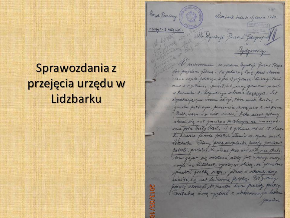 Sprawozdanie z przejęcia urzędu pocztowego w Sępólnie