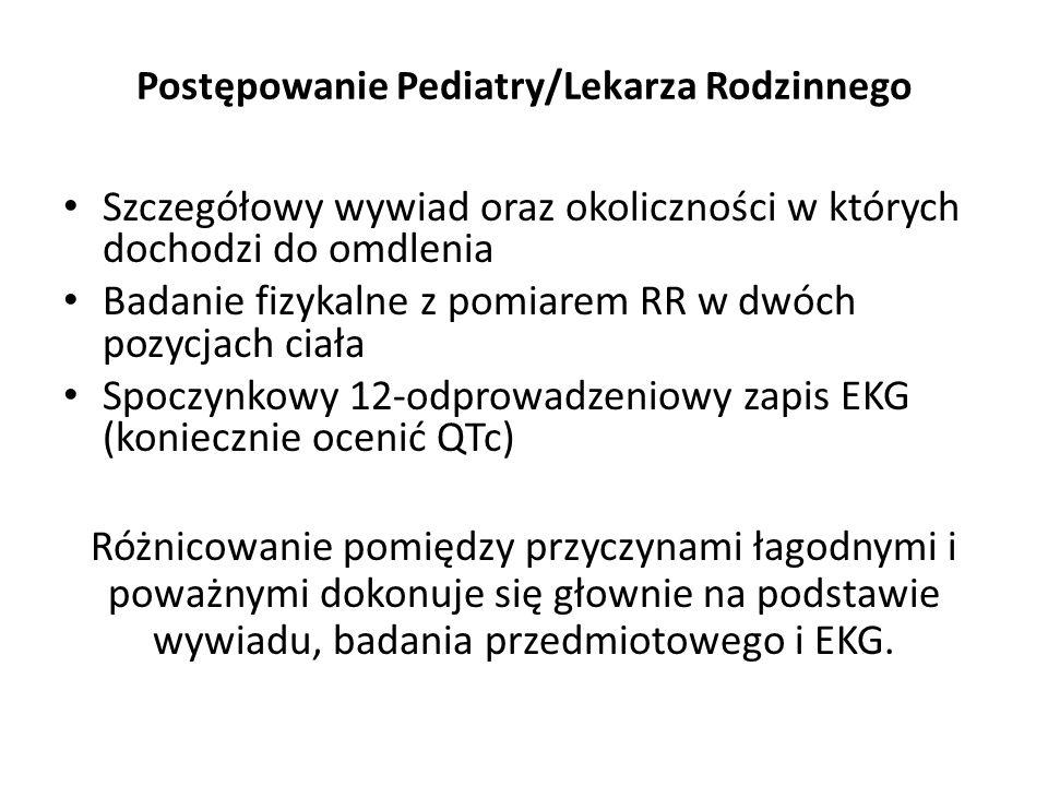 Postępowanie Pediatry/Lekarza Rodzinnego Szczegółowy wywiad oraz okoliczności w których dochodzi do omdlenia Badanie fizykalne z pomiarem RR w dwóch p
