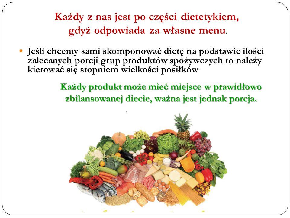 Całodzienną rację pokarmową, czyli łączną ilość porcji, należy tak rozdzielić na pięć posiłków, żeby każdy z nich był zrównoważony pod względem wartości energii i składników pokarmowych oraz zaleceń co do wielkości.