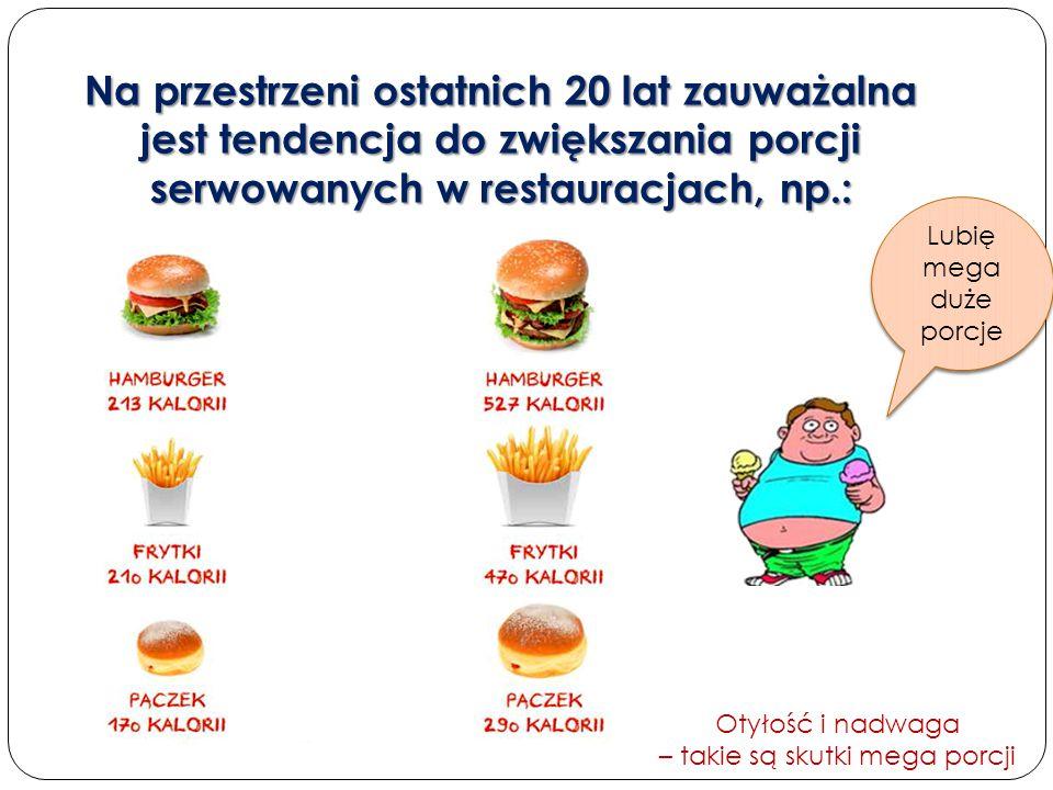 Na przestrzeni ostatnich 20 lat zauważalna jest tendencja do zwiększania porcji serwowanych w restauracjach, np.: Otyłość i nadwaga – takie są skutki