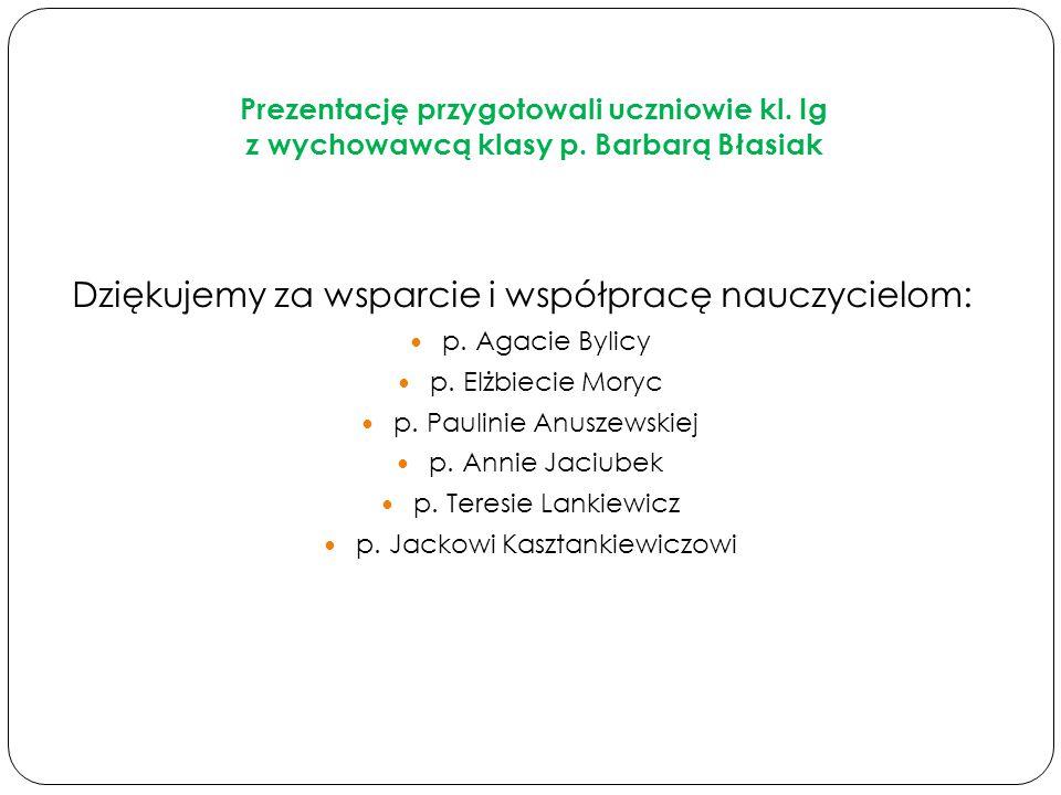 Dziękujemy za wsparcie i współpracę nauczycielom: p. Agacie Bylicy p. Elżbiecie Moryc p. Paulinie Anuszewskiej p. Annie Jaciubek p. Teresie Lankiewicz