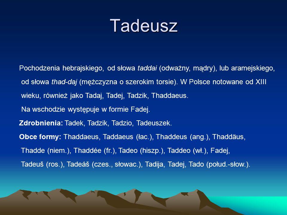 Tadeusz Pochodzenia hebrajskiego, od słowa taddai (odważny, mądry), lub aramejskiego, od słowa thad-daj (mężczyzna o szerokim torsie).