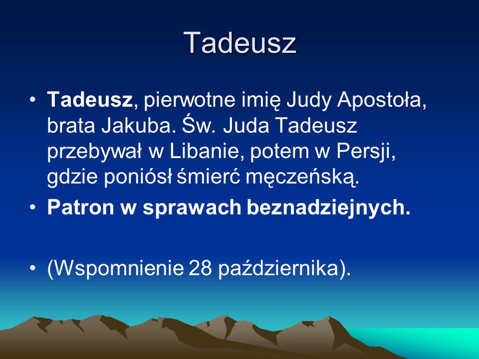 Tadeusz Tadeusz, pierwotne imię Judy Apostoła, brata Jakuba.