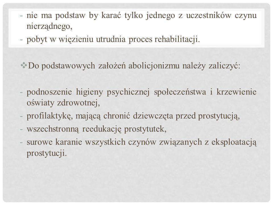 -nie ma podstaw by karać tylko jednego z uczestników czynu nierządnego, -pobyt w więzieniu utrudnia proces rehabilitacji.