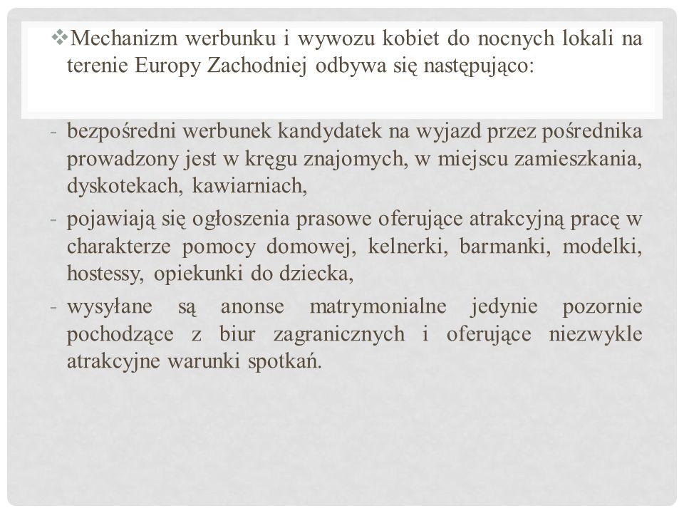  Mechanizm werbunku i wywozu kobiet do nocnych lokali na terenie Europy Zachodniej odbywa się następująco: -bezpośredni werbunek kandydatek na wyjazd