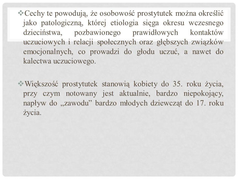  Cechy te powodują, że osobowość prostytutek można określić jako patologiczną, której etiologia sięga okresu wczesnego dzieciństwa, pozbawionego praw