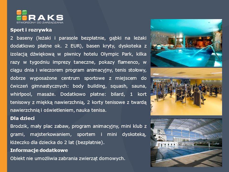Sport i rozrywka 2 baseny (leżaki i parasole bezpłatnie, gąbki na leżaki dodatkowo płatne ok.