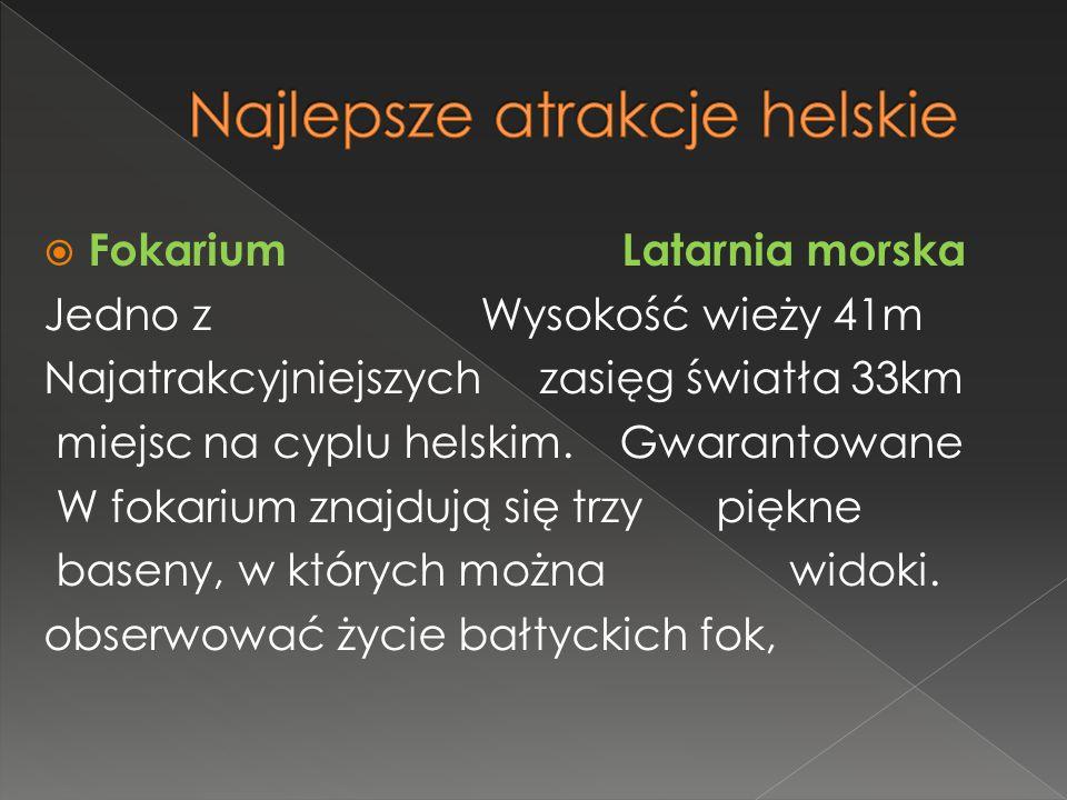  Fokarium Latarnia morska Jedno z Wysokość wieży 41m Najatrakcyjniejszych zasięg światła 33km miejsc na cyplu helskim.