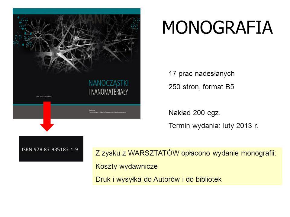 MONOGRAFIA 17 prac nadesłanych 250 stron, format B5 Nakład 200 egz. Termin wydania: luty 2013 r. Z zysku z WARSZTATÓW opłacono wydanie monografii: Kos