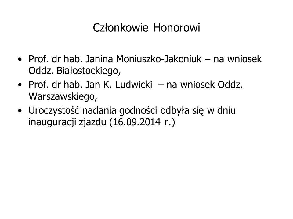 Członkowie Honorowi Prof. dr hab. Janina Moniuszko-Jakoniuk – na wniosek Oddz. Białostockiego, Prof. dr hab. Jan K. Ludwicki – na wniosek Oddz. Warsza