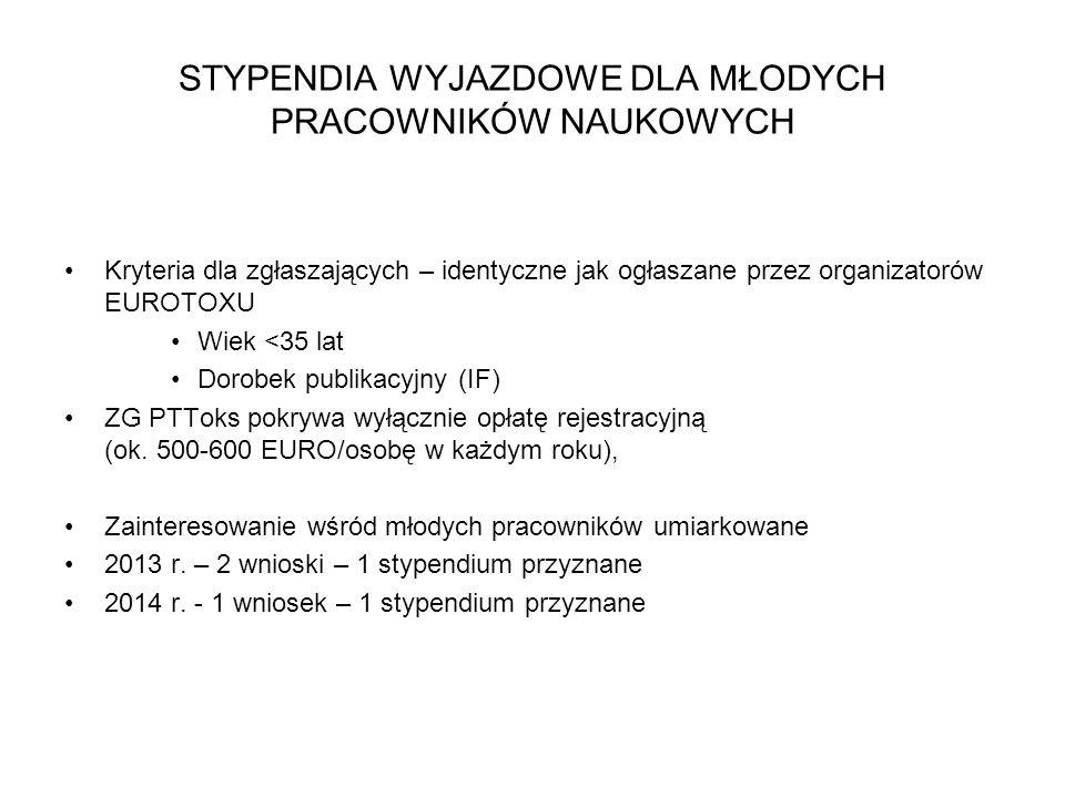 STYPENDIA WYJAZDOWE DLA MŁODYCH PRACOWNIKÓW NAUKOWYCH Kryteria dla zgłaszających – identyczne jak ogłaszane przez organizatorów EUROTOXU Wiek <35 lat