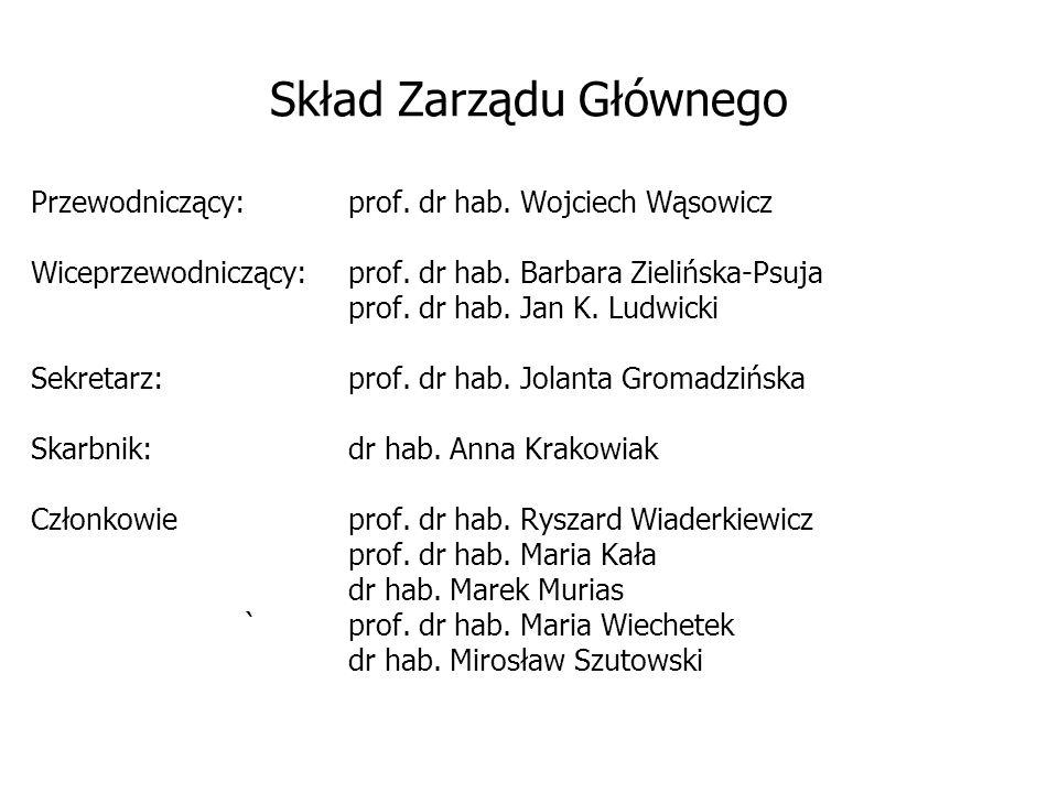 Skład Zarządu Głównego Przewodniczący:prof. dr hab. Wojciech Wąsowicz Wiceprzewodniczący:prof. dr hab. Barbara Zielińska-Psuja prof. dr hab. Jan K. Lu