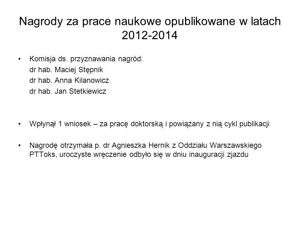 Nagrody za prace naukowe opublikowane w latach 2012-2014 Komisja ds. przyznawania nagród: dr hab. Maciej Stępnik dr hab. Anna Kilanowicz dr hab. Jan S
