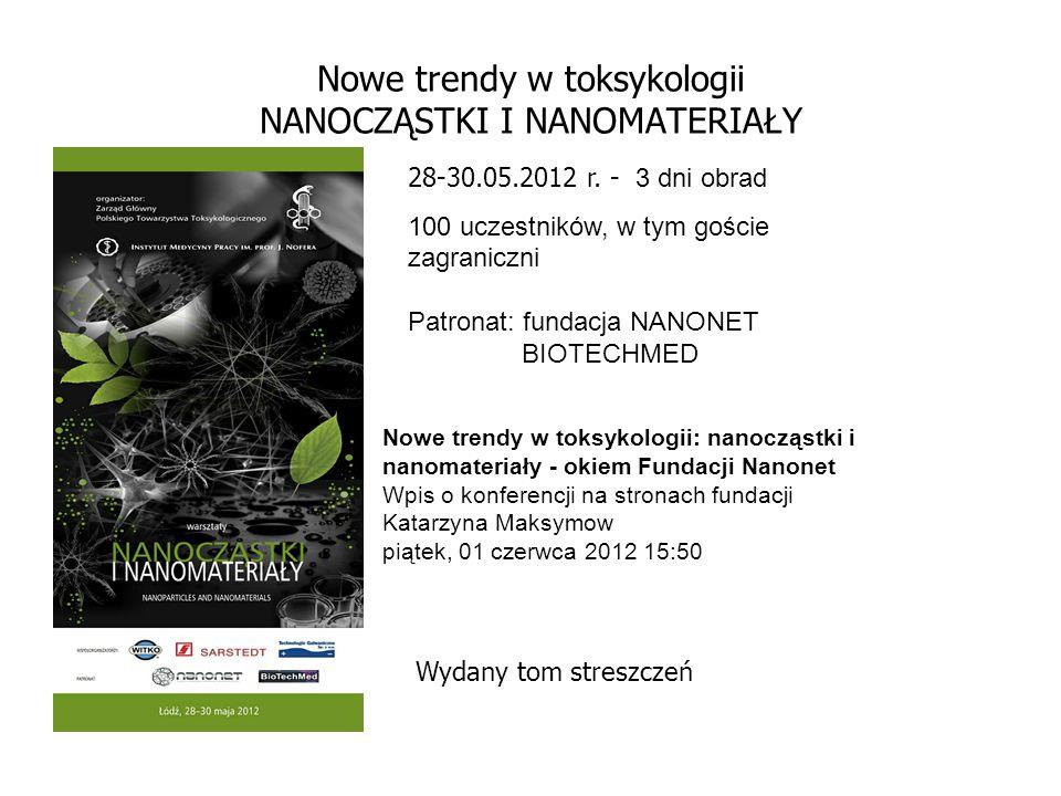 Nowe trendy w toksykologii NANOCZĄSTKI I NANOMATERIAŁY 28-30.05.2012 r. - 3 dni obrad 100 uczestników, w tym goście zagraniczni Patronat: fundacja NAN