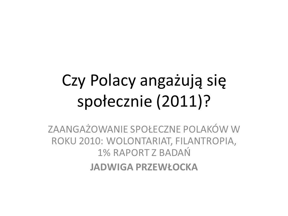 Czy Polacy angażują się społecznie (2011)? ZAANGAŻOWANIE SPOŁECZNE POLAKÓW W ROKU 2010: WOLONTARIAT, FILANTROPIA, 1% RAPORT Z BADAŃ JADWIGA PRZEWŁOCKA