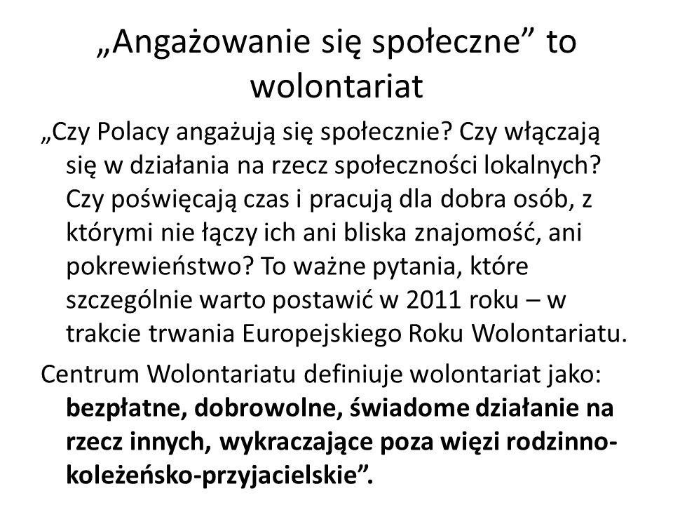 """""""Angażowanie się społeczne"""" to wolontariat """"Czy Polacy angażują się społecznie? Czy włączają się w działania na rzecz społeczności lokalnych? Czy pośw"""