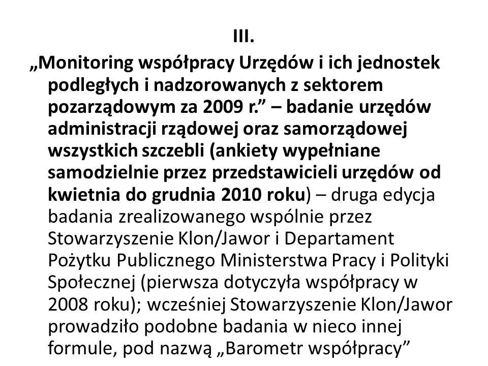 """III. """"Monitoring współpracy Urzędów i ich jednostek podległych i nadzorowanych z sektorem pozarządowym za 2009 r."""" – badanie urzędów administracji rzą"""