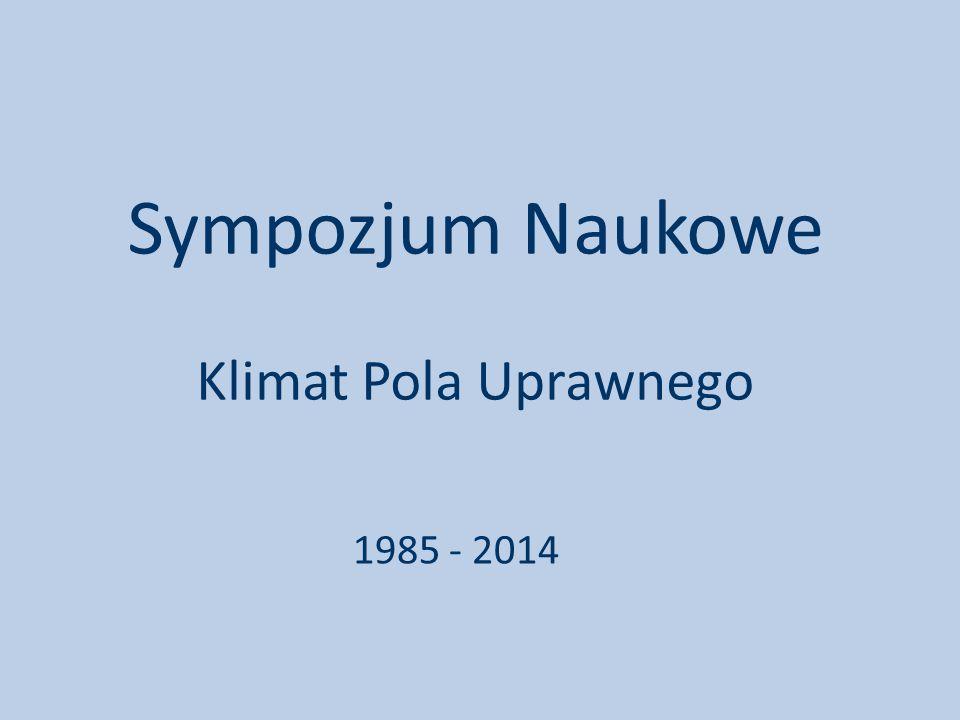 Sympozjum Naukowe Klimat Pola Uprawnego 1985 - 2014