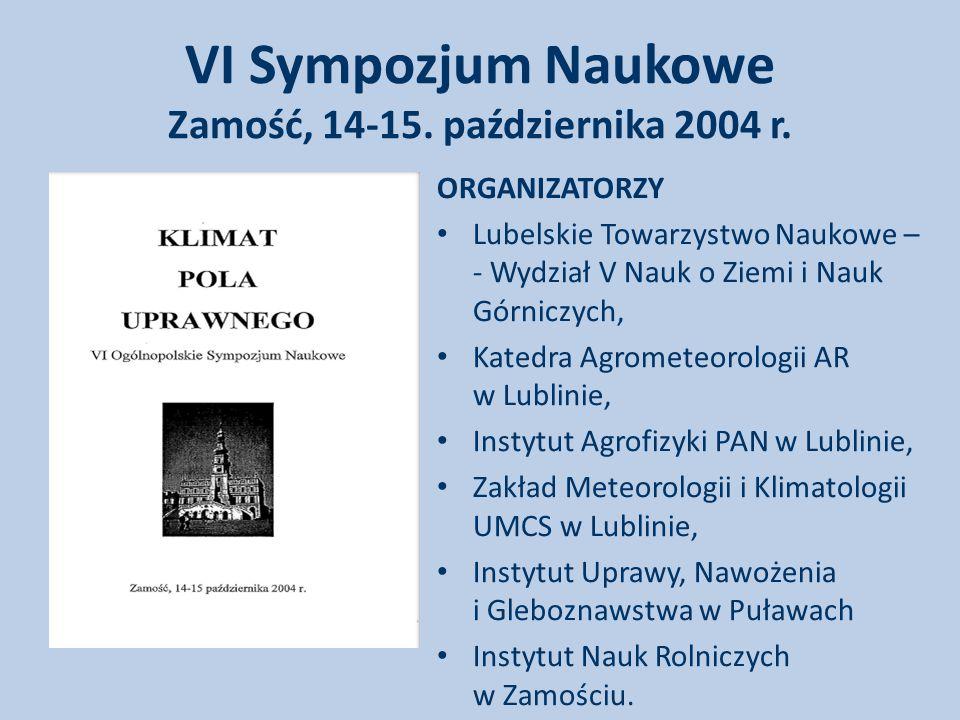 VI Sympozjum Naukowe Zamość, 14-15.października 2004 r.