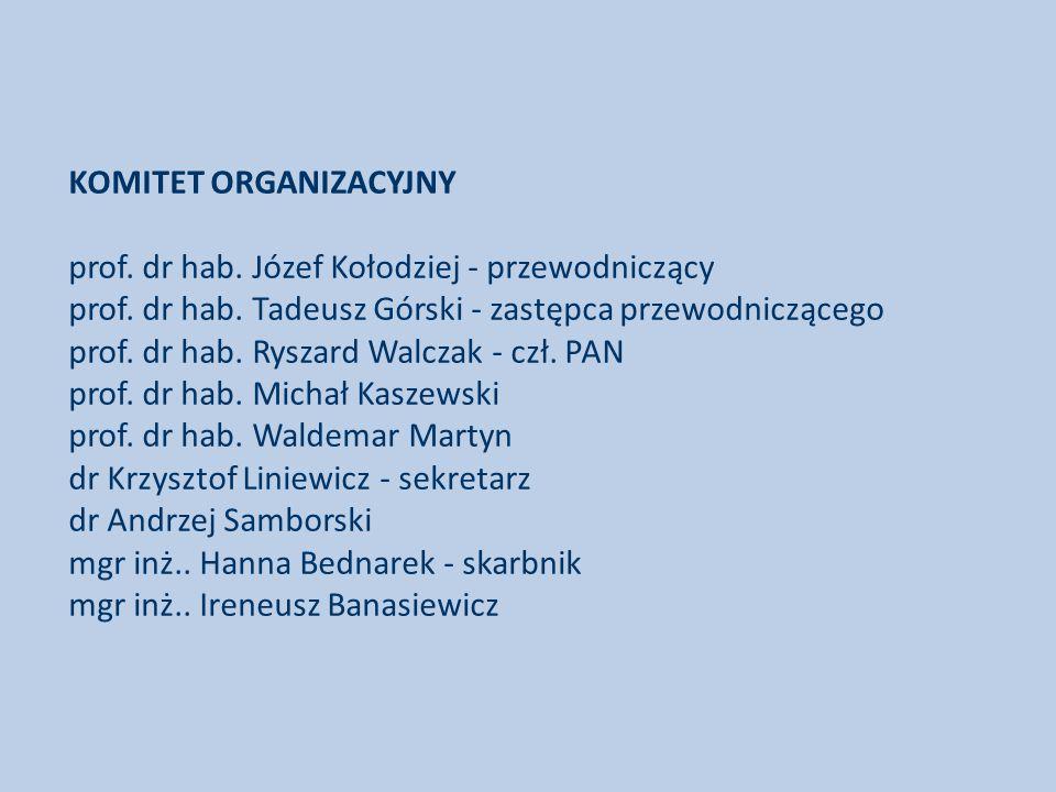 KOMITET ORGANIZACYJNY prof.dr hab. Józef Kołodziej - przewodniczący prof.