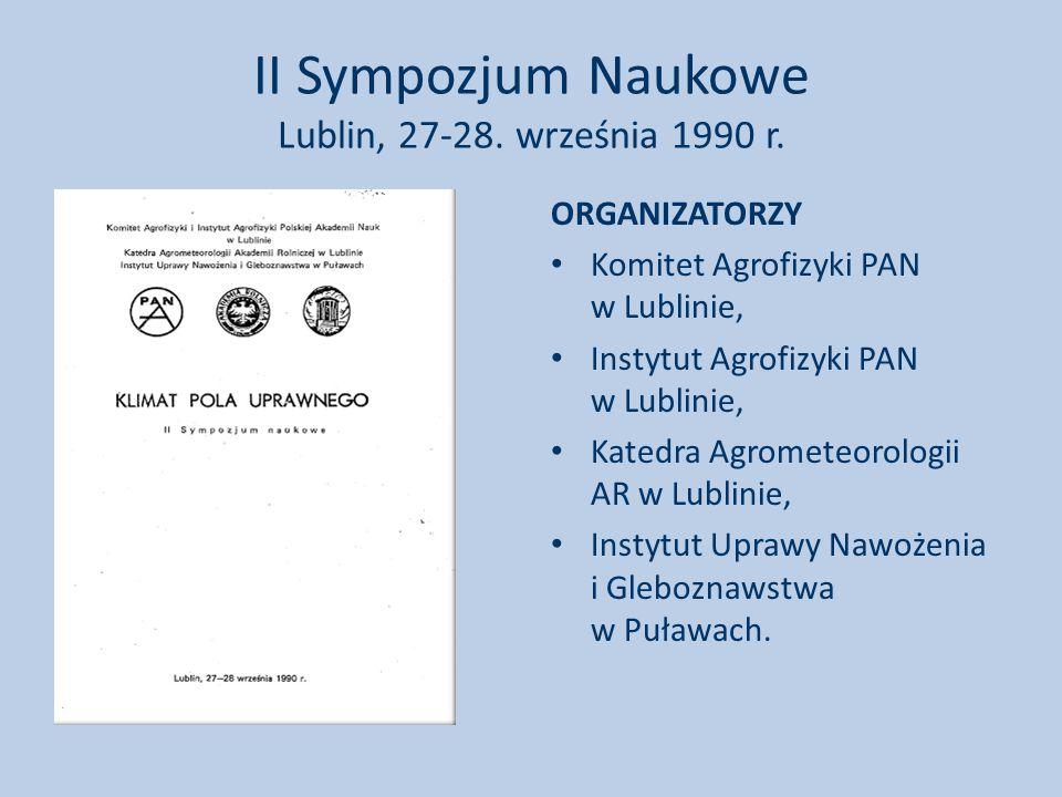 II Sympozjum Naukowe Lublin, 27-28.września 1990 r.