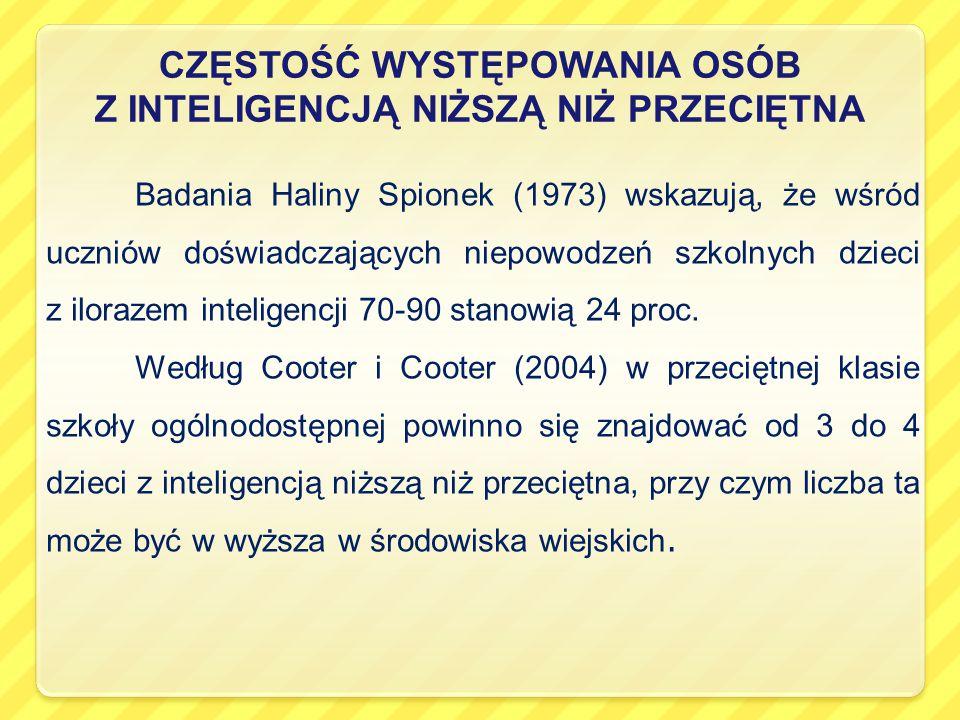 CZĘSTOŚĆ WYSTĘPOWANIA OSÓB Z INTELIGENCJĄ NIŻSZĄ NIŻ PRZECIĘTNA Badania Haliny Spionek (1973) wskazują, że wśród uczniów doświadczających niepowodzeń szkolnych dzieci z ilorazem inteligencji 70-90 stanowią 24 proc.