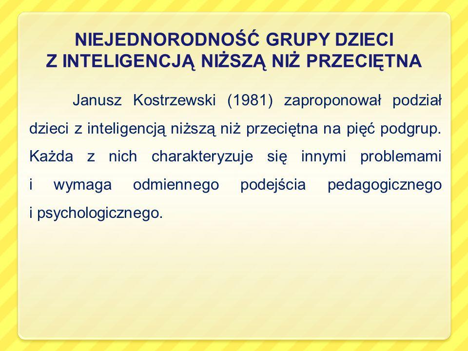 NIEJEDNORODNOŚĆ GRUPY DZIECI Z INTELIGENCJĄ NIŻSZĄ NIŻ PRZECIĘTNA Janusz Kostrzewski (1981) zaproponował podział dzieci z inteligencją niższą niż przeciętna na pięć podgrup.