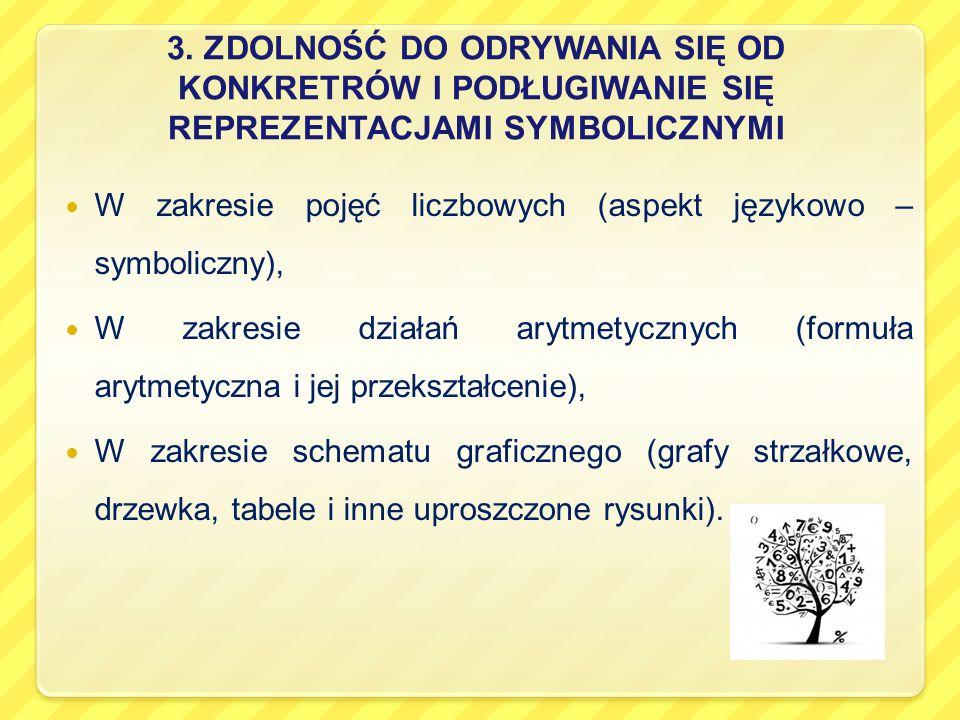 3. ZDOLNOŚĆ DO ODRYWANIA SIĘ OD KONKRETRÓW I PODŁUGIWANIE SIĘ REPREZENTACJAMI SYMBOLICZNYMI W zakresie pojęć liczbowych (aspekt językowo – symboliczny