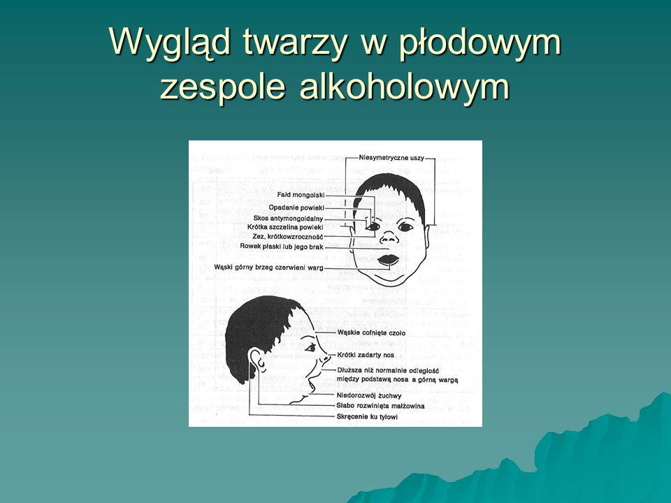 Wpływ alkoholu spożywanego przez ciężarną na rozwój dziecka  spowolnienie rozwoju prenatalnego i postnatalnego  nieprawidłowy poziom hormonów  anomalie dotyczące struktury i funkcji mózgu  Opóźnienia w rozwoju sprawności ruchowej, mowy, zmysłu równowagi, słuchu i powonienia  upośledzenie pamięci, przetwarzania i magazynowania informacji  trudności z rozwiązywaniem problemów, podjęciem złożonej decyzji, myśleniem abstrakcyjnym  upośledzenie orientacji wzrokowo-przestrzennej  zaburzenia koordynacji wzrokowo-ruchowej  trudności behawioralne
