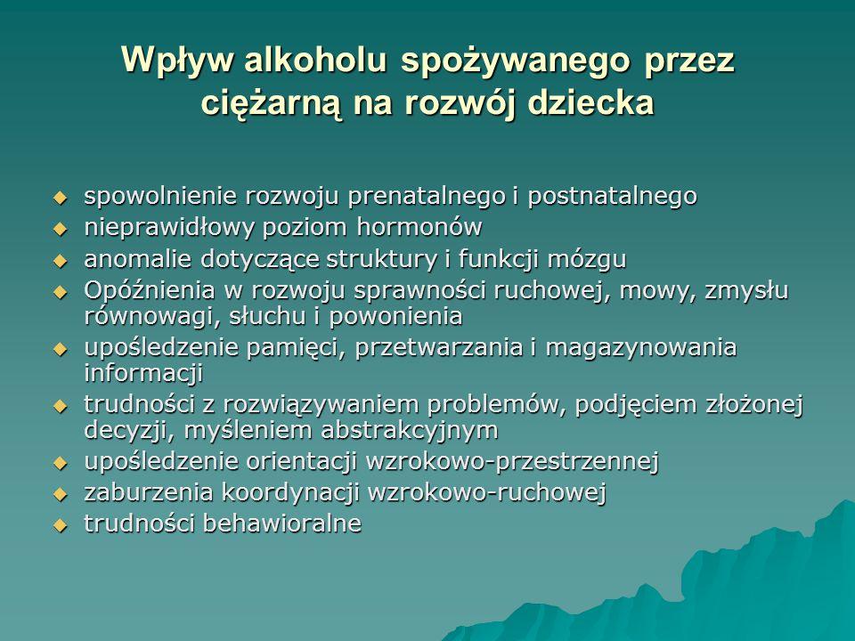 PONIEWAŻ NIE ZNAMY BEZPIECZNEJ DAWKI ALKOHOLU, KTÓRĄ MOGŁABY SPOŻYWAĆ KOBIETA CIĘŻARNA DLATEGO TEŻ WSKAZANA JEST ABSTYNENCJA PRZEZ CAŁY OKRES CIĄŻY