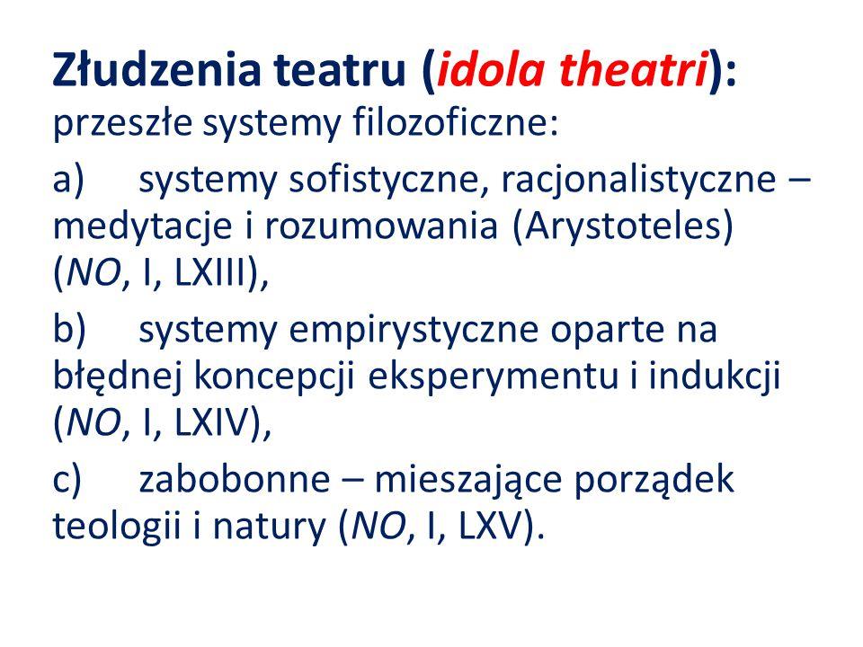 Złudzenia teatru (idola theatri): przeszłe systemy filozoficzne: a)systemy sofistyczne, racjonalistyczne – medytacje i rozumowania (Arystoteles) (NO, I, LXIII), b)systemy empirystyczne oparte na błędnej koncepcji eksperymentu i indukcji (NO, I, LXIV), c)zabobonne – mieszające porządek teologii i natury (NO, I, LXV).