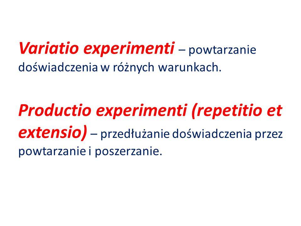 Variatio experimenti – powtarzanie doświadczenia w różnych warunkach.